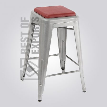 Tolix Grey Bar Stool With Leather Seat