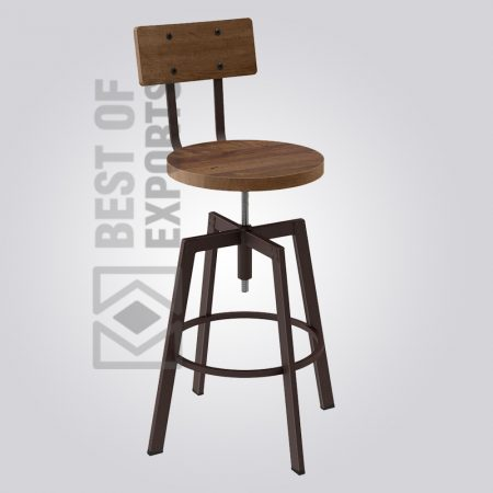 Adjustable Industrial Bar Stool With Back Support
