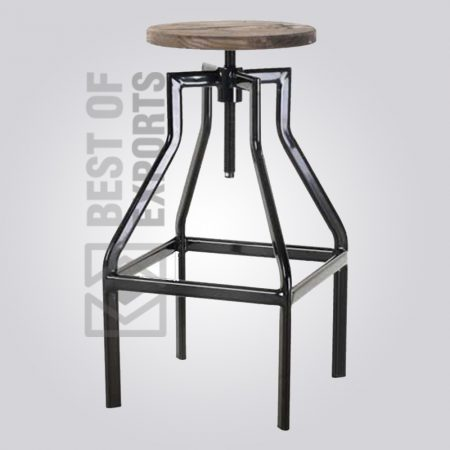 Adjustable Bar Stool With Wooden Seat
