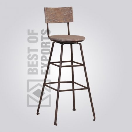 Counter Height Bar Stool With Wooden Seat