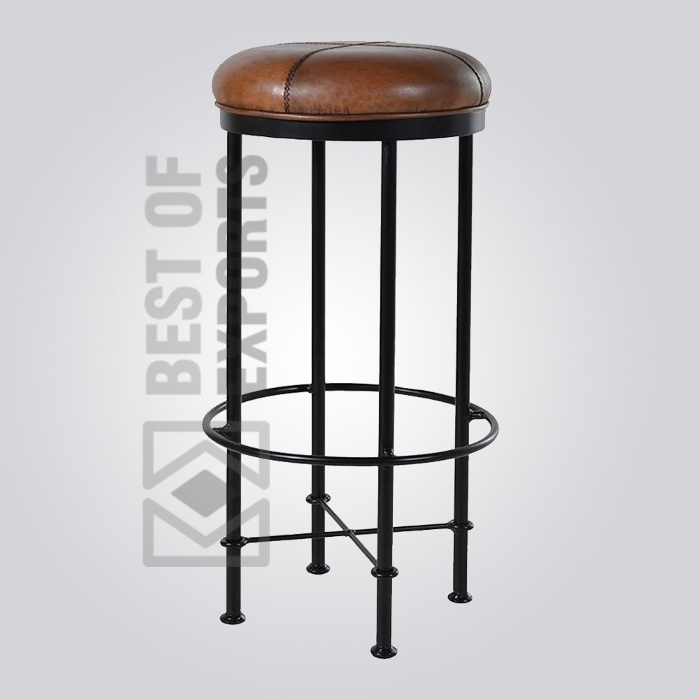 Groovy Vintage Round Bar Stool With Leather Seat Best Of Exports Uwap Interior Chair Design Uwaporg