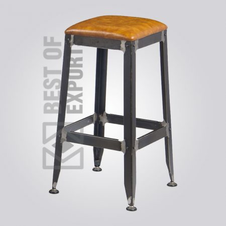 Square Bar Stool With Leather Seat