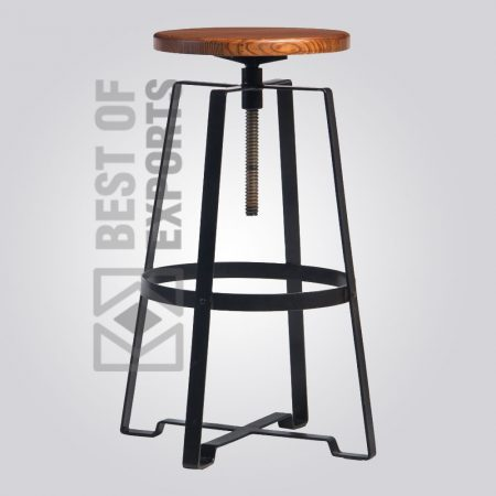 Elegant Adjustable Bar Stool With Wooden Seat