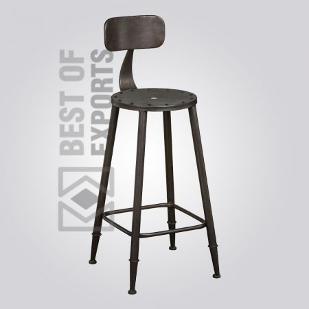 Industrial Iron Bar Stool With Back Support