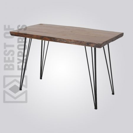 Industrial Dining Table With Hairpin Design Leg Support