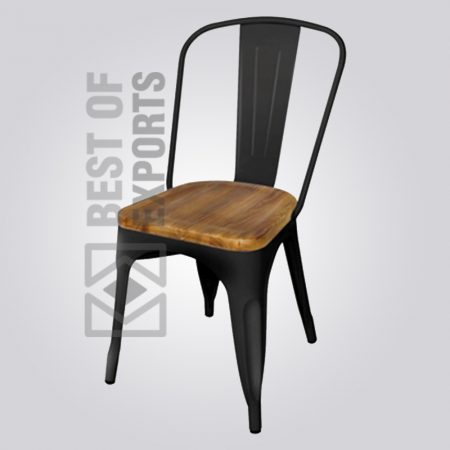 Industrial Metallic Side Chair With Wooden Seat