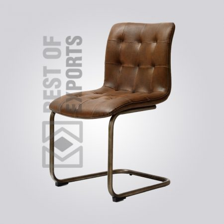 Vintage Industrial Dining Chair With Leather Seat