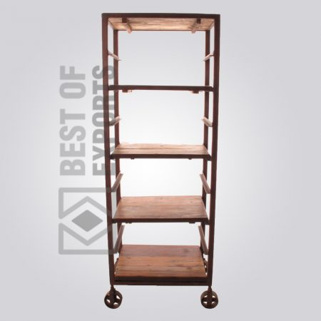 Industrial Bookcase With Wheel