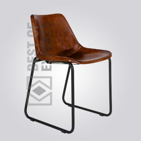 Vintage Industrial Side Chair With Leather Seat