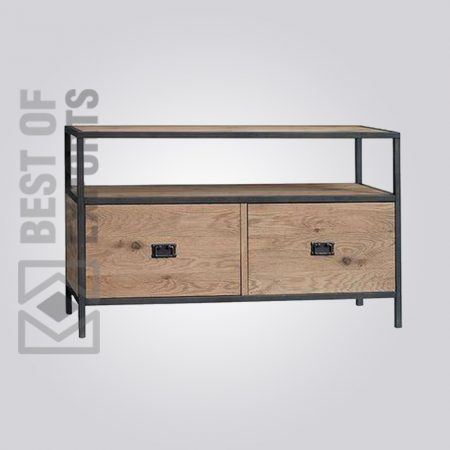 Metal/Wood Media Stand With Drawer
