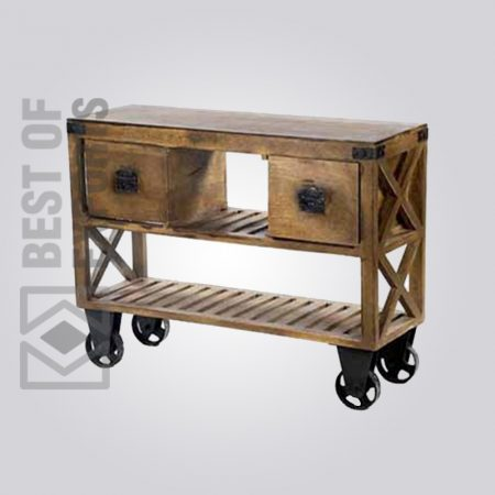 Wooden Media Cabinet With Wheel