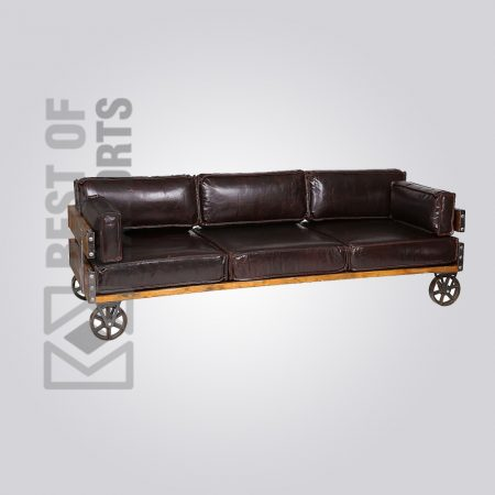 CHESTERFIELD BLACK LEATHER SOFA WITH WHEEL